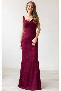 Красивое вечернее платье марсала