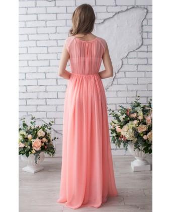 Персиковое вечернее платье с кружевом