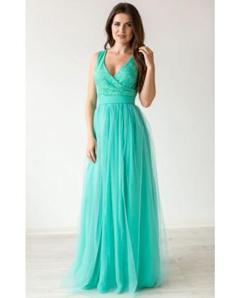 Платье нарядное вечернее мятное