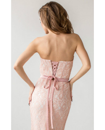 Пудровое вечернее платье б/б