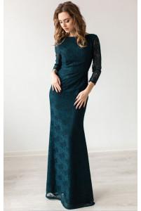 Вечернее платье изумрудного цвета