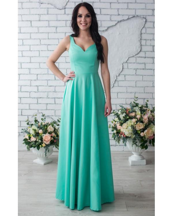 Платье мятное в пол купить в