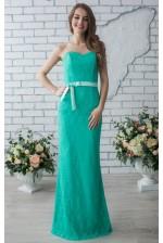 Вечернее платье русалка мятное