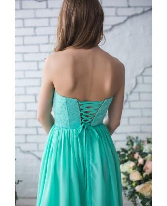 Мятное вечернее платье с корсетом