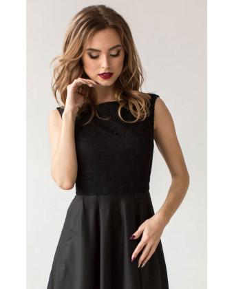 Вечернее черное платье с кружевом черное