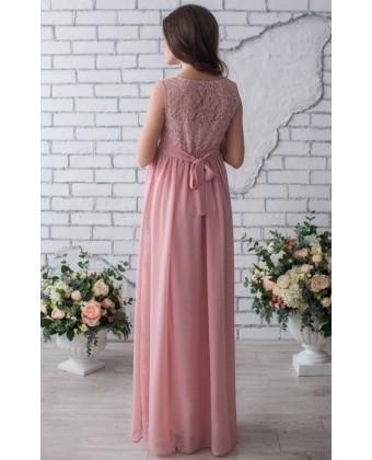 Платье в пол для беременных пудра