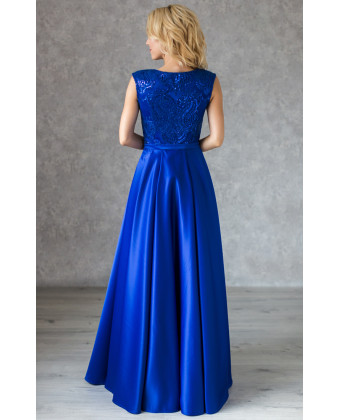 Атласное вечернее платье индиго