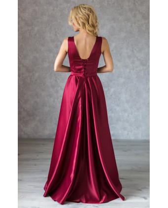 Атласное вечернее платье марсала с юбкой солнце