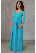 Бирюзовое вечернее платье для беременных