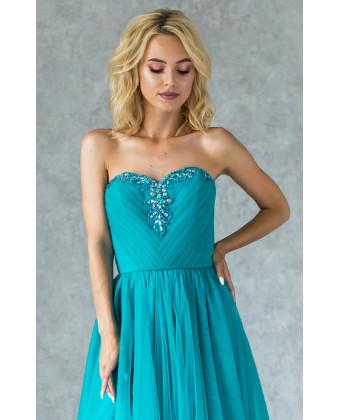 Бирюзовое вечернее платье с камнями по лифу