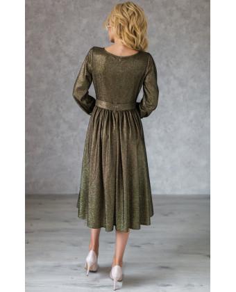 Блестящее коктейльное платье миди с рукавом