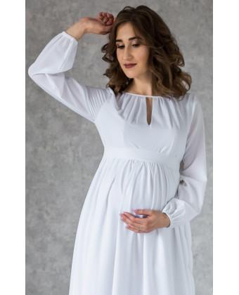 Длинное белое платье для беременных