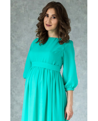 Длинное мятное платье для беременных