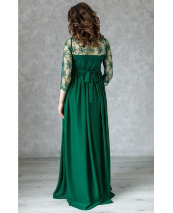 Длинное вечернее платье для беременных изумрудное