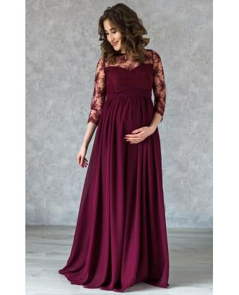 Длинное вечернее платье для беременных марсала