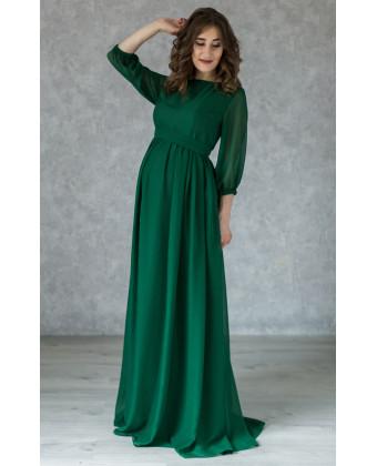 Элегантное изумрудное платье для беременных