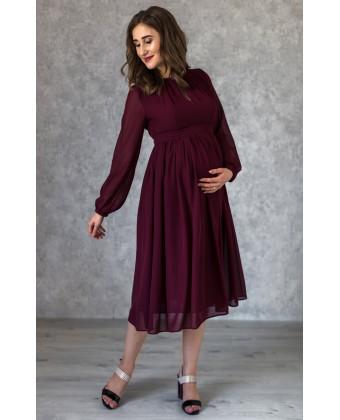 Коктейльное платье для беременных марсала
