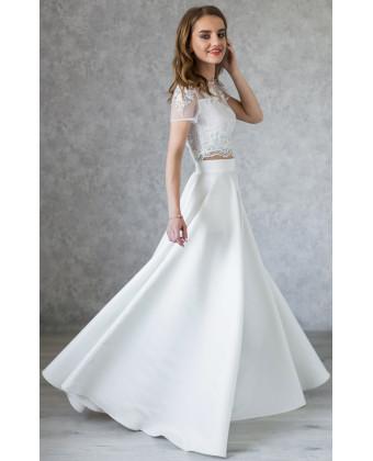 Комплект свадебный расшитый топ и атласная юбка
