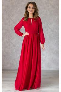 Красное платье в пол с длинным рукавом
