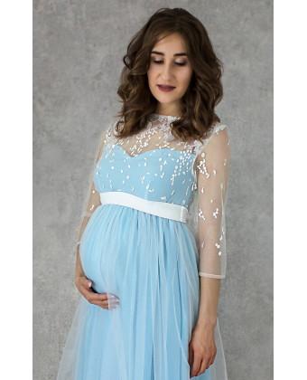Нежное голубое платье для беременных
