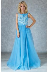 Нежное голубое вечернее платье