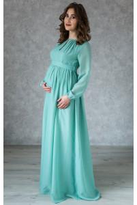 Платье в пол для беременных шалфей