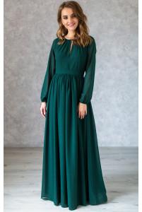 Платье в пол с длинным рукавом изумруд