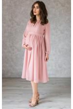Пудровое коктейльное платье для беременных