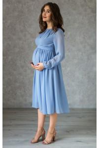 Серо-голубое коктейльное платье для беременных