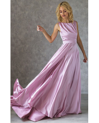 Шелковое вечернее платье пудра