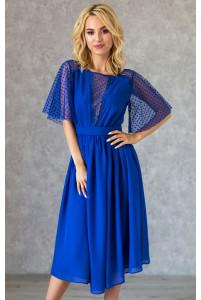 Синее коктейльное платье с красивым декольте