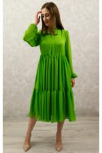 Стильное фисташковое платье