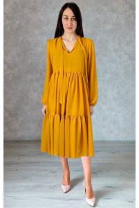 Стильное горчичное платье