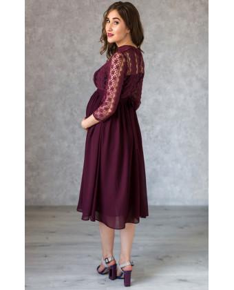 Стильное платье миди для беременных марсала