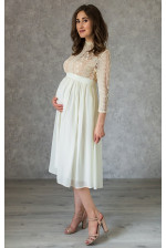 Стильное платье миди для беременных молочное