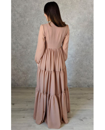 Стильное платье в пол цвета какао