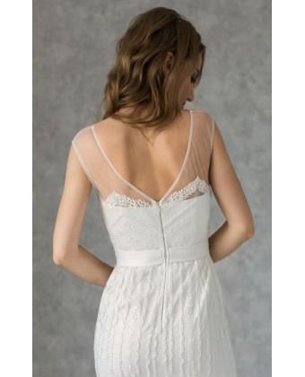 Свадебное платье А-силуэта расшитое бисером