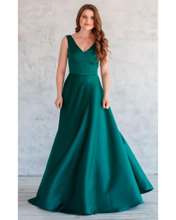 eb62e07354a Изумрудное атласное платье купить в интернет-магазине Роял-бутик ...