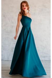 Платье на одно плечо изумрудное