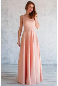 Платье на одно плечо пудровое
