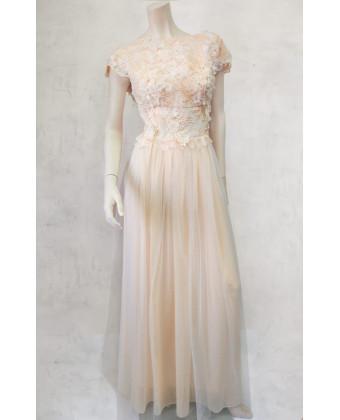 Платье с открытой спиной шампань
