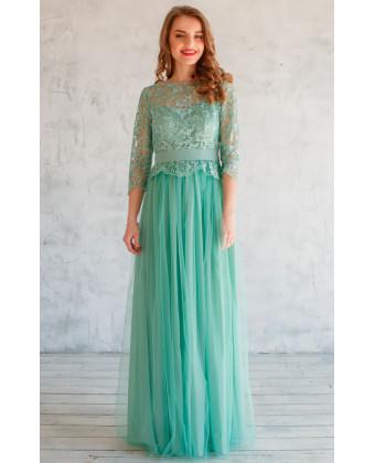 Вечернее платье цвета шалфея