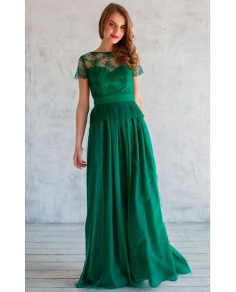 Вечернее платье с баской изумруд