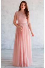 Вечернее платье с баской пудра