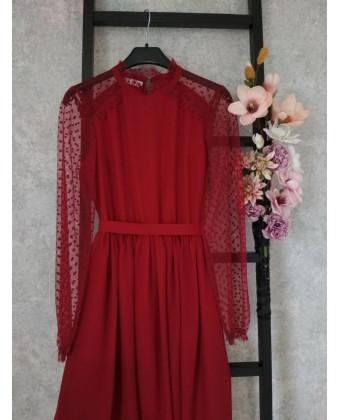 Коктейльное платье с рукавом в горошек марсала