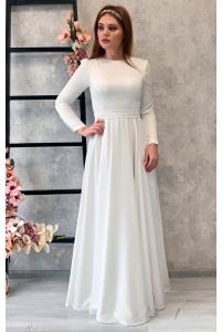 Атласное свадебное платье с длинным рукавом