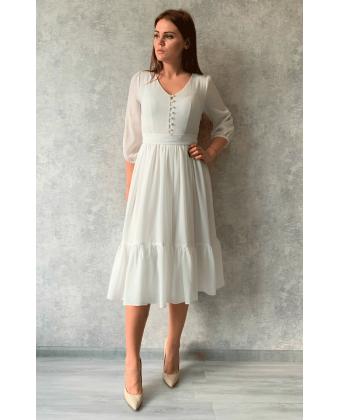 Белое платье миди с пуговками