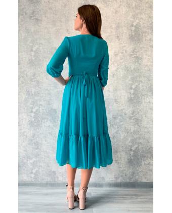 Бирюзовое платье миди с пуговками