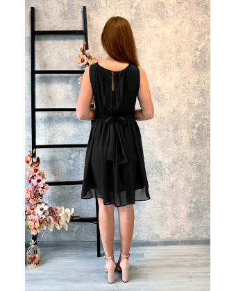 Черное коктейльное платье в греческом стиле
