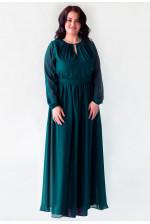 Длинное платье большого размера с рукавом изумруд